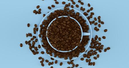 ブルーコーヒーカップコーヒー豆3Dイラスト満載のソーサー 写真素材