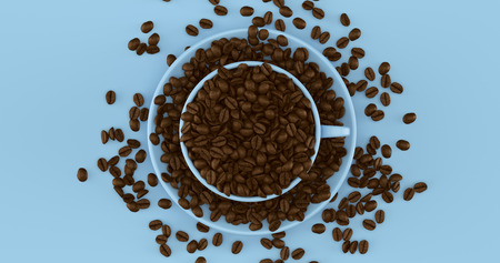 Blue Coffee Cup an Saucer Full Of Coffee Beans 3d illustration Stock Photo