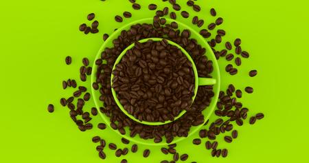 グリーンコーヒーカップコーヒー豆3Dイラスト満載のソーサー