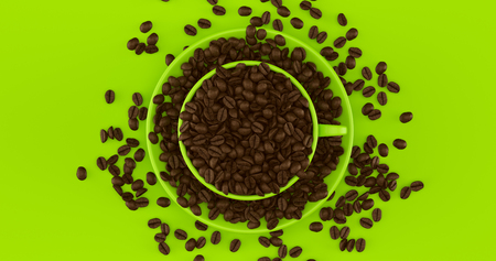 Green Coffee Cup an Saucer Full Of Coffee Beans 3d illustration