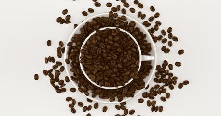 ホワイトコーヒーカップコーヒー豆3Dイラスト満載のソーサー