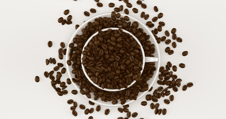White Coffee Cup an Saucer Full Of Coffee Beans 3d illustration