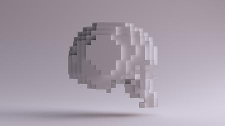 キューブ3Dイラストで作られた白い頭蓋骨