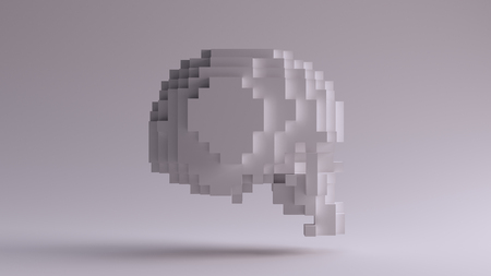 White Skull made of Cubes 3d illustration