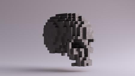 キューブ3Dイラストで作られた灰色の頭蓋骨