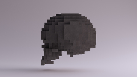 Grey Skull made of Cubes 3d illustration