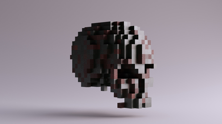 Pixelated Old Brass Skull made of Cubes Reklamní fotografie