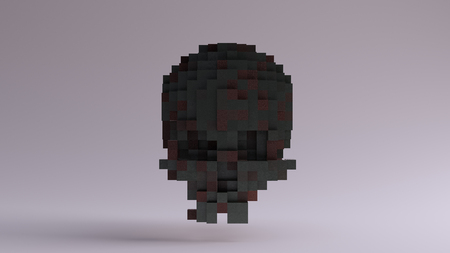 キューブで作られたピクセル化された古い真鍮の頭蓋骨 写真素材