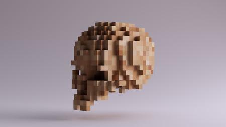 キューブで作られたピクセル化された木製の頭蓋骨