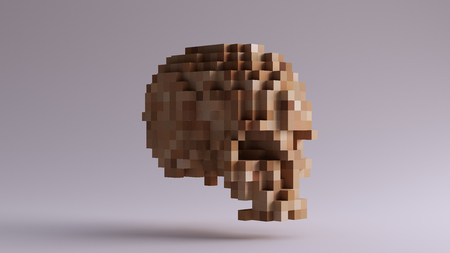 Pixelated Wooden Skull made of Cubes