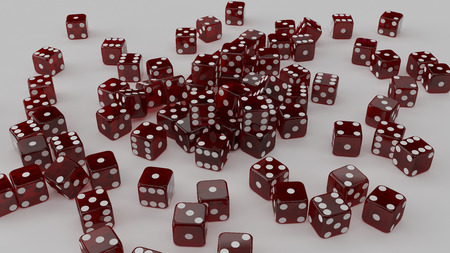 Lots of Red dice 3d illustration