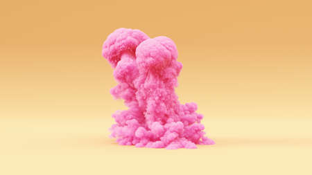 Pink Explosion Large Grouped Warm Cream Background 3d illustration 3d render Stok Fotoğraf