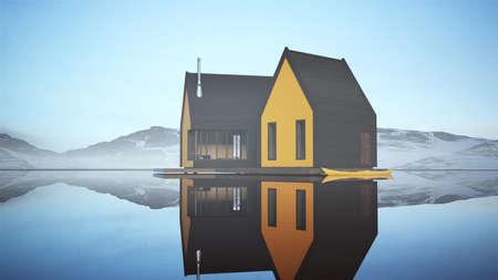 Modern Yellow Lakeside Wooden Cabin Sunrise Norwegian Style Fisherman House Floating 3d illustration 3d render Reklamní fotografie