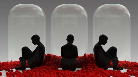 Self Isolation 3 Woman Sitting Down in a Giant Bell Jar Surrounded by Lots of Red Spheres 3d illustration 3d render