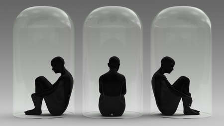 Self Isolation 3 Woman Sitting Down in a Giant Bell Jar 3d illustration 3d render 写真素材