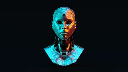 Cyborg with with Red Orange and Blue Green Moody 80s lighting Front 3d illustration 3d render