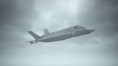 Strike Fighter Jet Aircraft Flying Low Overcast Day 3d illustration 3d render
