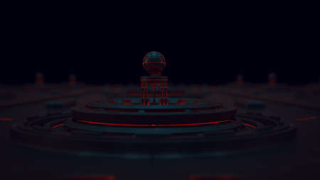 Futuristic Micro Technology Concept Blue and Red Wide Shot 3d illustration 3d render