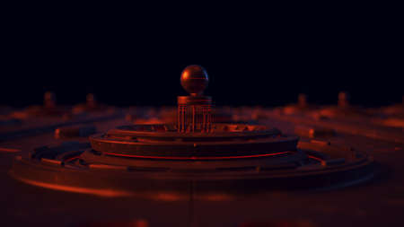 Futuristic Micro Technology Concept Orange Blue and Red Wide Shot 3d illustration 3d render