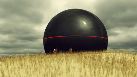 Alien Sphere with Grassy Sand Dunes on a Cloudy Day with two People in Hazmat Suits 3d illustration 3d render