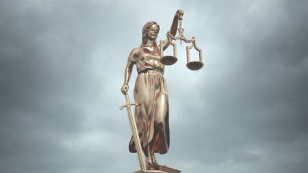 Lady Justice Statue Bronze the Personification of the Judicial System 3d illustration Banque d'images