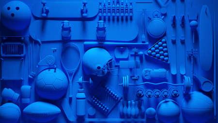 Blue Sports Equipment Collage 3d illustration
