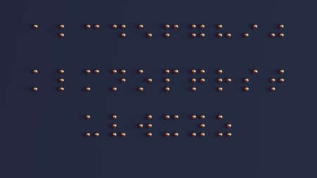 Braille Visually Impaired Writing System Symbol Formed out of Bronze Spheres 3d illustration