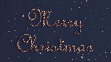 Merry Christmas Text Formed out of Golden and Bronze Spheres with Bronze Stars 3d illustration 版權商用圖片