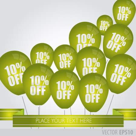 boxing day sale: Green balloons With Sale Discounts 10 percent.