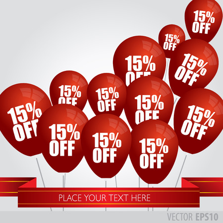 red balloons: Red balloons With Sale Discounts 15 percent. Illustration