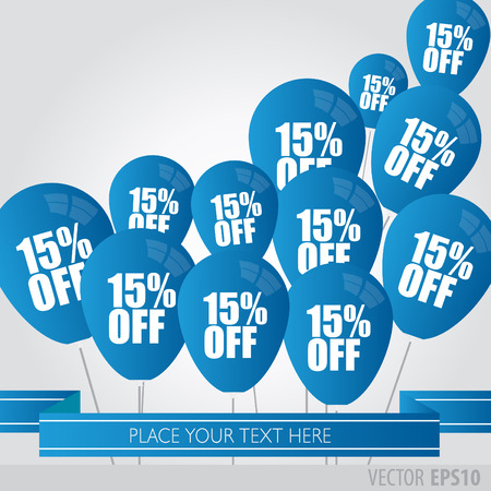 boxing day sale: Blue balloons With Sale Discounts 15 percent. Illustration