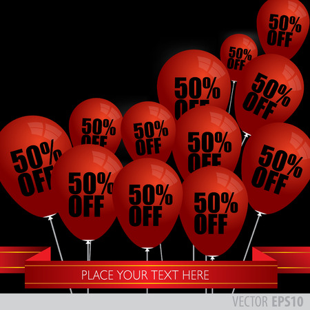 boxing day sale: Red balloons With Sale Discounts 50 percent. Illustration