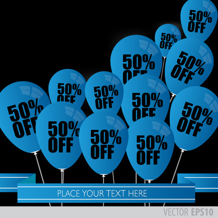 boxing day sale: blue balloons With Sale Discounts 50 percent.