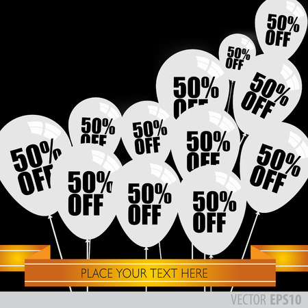 boxing day sale: White balloons With Sale Discounts 50 percent. Illustration