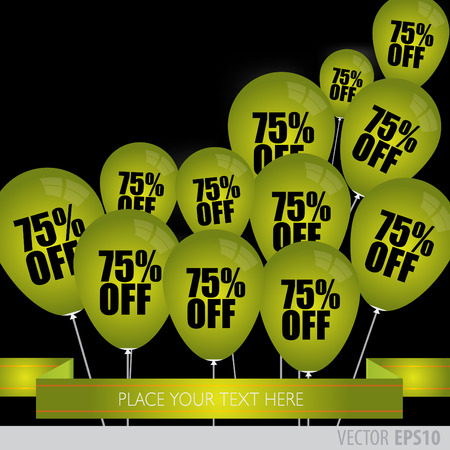 green balloons: Vector - Green balloons With Sale Discounts 75 percent.