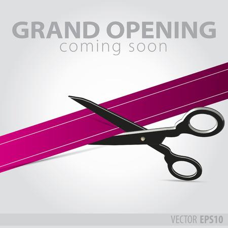 commemorate: Shop grand opening - cutting purple ribbon Illustration