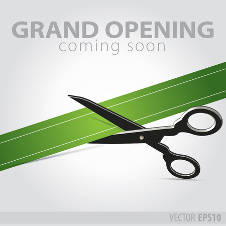 Shop grand opening - cutting green ribbon Ilustrace