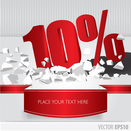 Red 10 percent discount on vector cracked ground on white background Vector