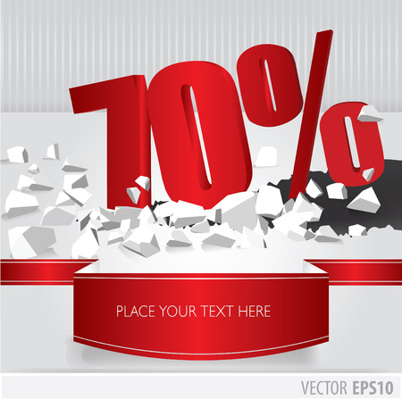 Red 70  percent discount on vector cracked ground on white background Vector