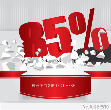 Red 85 percent discount on vector cracked ground on white background Vector