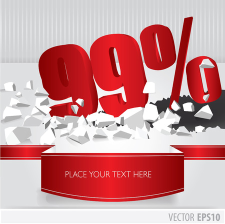 Red 99  percent discount on vector cracked ground on white background Vector