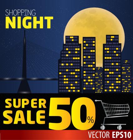 Shopping night , discount of 50 percent. Vector City at night. vector banner discount of 50 percent. Vector Belgrade at night. EPS 10 Vector