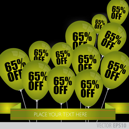green balloons: Green balloons With Sale Discounts 65 percent. Illustration