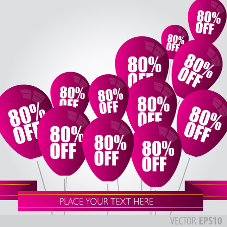boxing day sale: Purple balloons With Sale Discounts 80 percent. Illustration