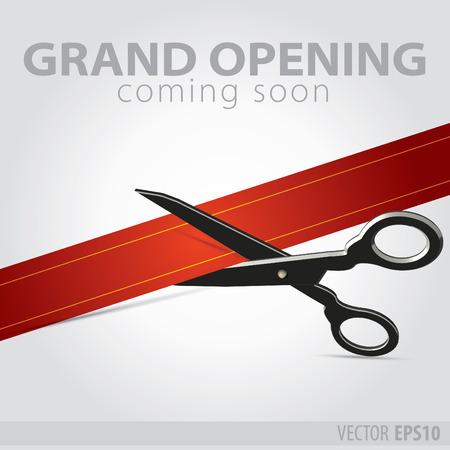 店グランド オープン - 赤いリボンを切る  イラスト・ベクター素材