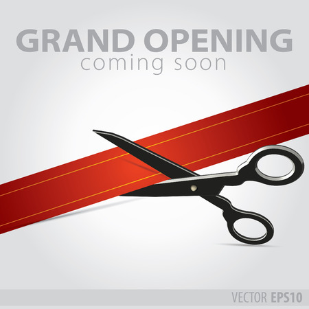 Shop grand opening - cutting red ribbon Vector