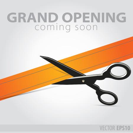 Shop grand opening - cutting orange ribbon Çizim