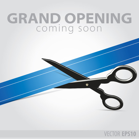 Shop grand opening - cutting blue ribbon Imagens - 37004095