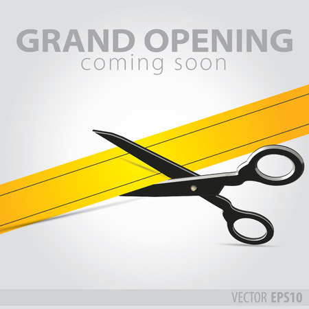 silver ribbon: Shop grand opening - cutting yellow ribbon