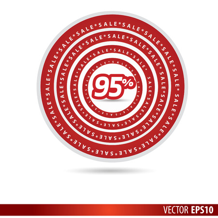 95: Big Sale tags with Sale 95 percent text on circle tags Illustration